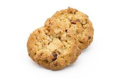 麦甜饼用在白色背景的蔓越桔 免版税库存照片