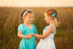 麦田的孩子在温暖和晴朗的夏天晚上 免版税库存照片