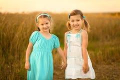 麦田的孩子在温暖和晴朗的夏天晚上 库存照片