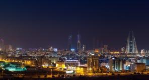麦纳麦夜地平线,巴林首都 图库摄影