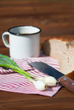 黑麦面包、葱、啤酒和刀子在木头,室外 免版税库存图片
