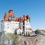 麸皮城堡德雷库拉 在小山3D例证顶部的中世纪城堡 向量例证