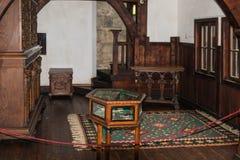 麸皮城堡的一个大沙龙的片段在麸皮城市在罗马尼亚 免版税库存图片