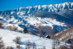 从麸皮城堡的典型的风景冬天视图 免版税库存照片