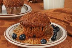 麸面松饼用狂放的蓝莓 库存照片