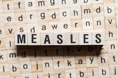 麻疹词概念 库存照片