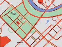 麻雀小山地图在莫斯科用俄语 免版税库存图片
