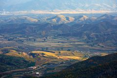 黄土高原秋天,山西,中国 免版税库存照片