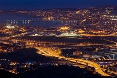 黄昏在极大的毕尔巴鄂 免版税图库摄影