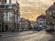 黄昏的利沃夫州 免版税库存图片