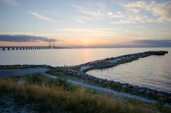 黄昏的厄勒海峡 库存图片