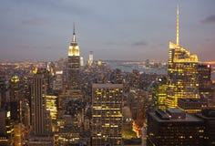 黄昏的曼哈顿,纽约 免版税库存照片