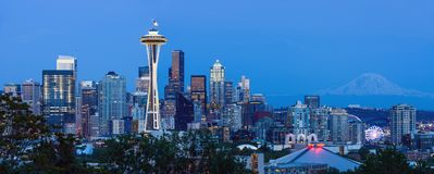 黄昏的西雅图 库存照片