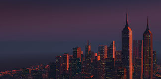 黄昏的2城市 库存图片