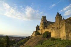 黄昏的Carcassonne 图库摄影