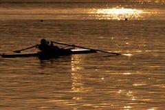黄昏的China武汉东部湖 免版税图库摄影