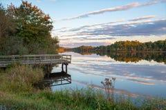 黄昏的Prospertown湖 免版税库存图片