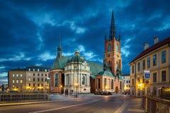 黄昏的Riddarholmen教会在斯德哥尔摩HDR图象 免版税库存照片
