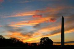黄昏纪念碑华盛顿 库存图片