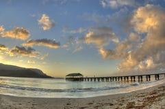 黄昏hanalei夏威夷考艾岛码头 库存图片