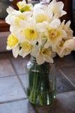 黄水仙瓶子 库存图片