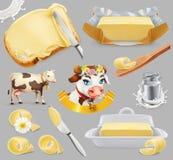 黄油 牛奶农场 3d传染媒介象集合 向量例证