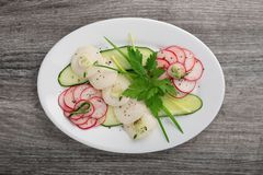 黄瓜、萝卜和绿色沙拉在一块白色板材在一张木桌上 库存图片