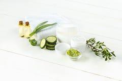 黄瓜和芦荟化妆奶油色面孔、皮肤和身体关心卫生学湿气化妆水 免版税库存照片