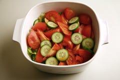 黄瓜新鲜的沙拉蕃茄 图库摄影