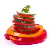 黄瓜胡椒红色蕃茄黄色 免版税库存照片