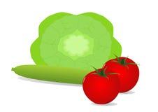 黄瓜莴苣沙拉蕃茄 库存照片