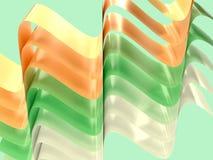 黄绿色白色曲线波浪摘要形状3d回报 皇族释放例证