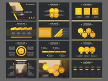 黄色三角捆绑infographic元素介绍模板 企业年终报告,小册子,传单,广告飞行物, 皇族释放例证