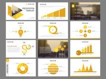 黄色三角捆绑infographic元素介绍模板 企业年终报告,小册子,传单,广告飞行物, 库存例证