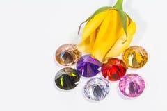 黄色与五颜六色的金刚石的玫瑰花 免版税库存照片