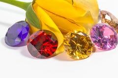 黄色与五颜六色的金刚石的玫瑰花 库存图片