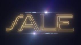 黄色与发光的轻的光学火光动画的lazer霓虹销售文本在黑背景-新的质量减速火箭的葡萄酒 皇族释放例证