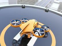 黄色乘客寄生虫出租汽车背面图在停机坪的 皇族释放例证