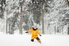 黄色冬天衣裳的逗人喜爱的小男孩走在期间降雪 库存图片