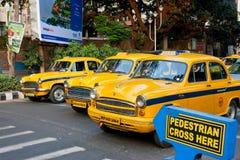 黄色出租车终止了在一条行人交叉路 库存图片