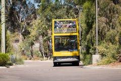 黄色双重甲板游览车在圣地亚哥动物园附近采取游人 库存图片