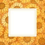 黄色向日葵球水彩横幅卡片 例证 库存图片