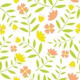 黄色和桔子花无缝的样式在白色背景为织品衣裳背景设计 库存照片