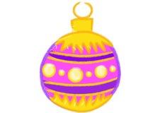 黄色和紫罗兰色圣诞节球 库存图片