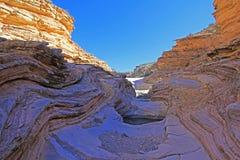 黄色和红色挥动的岩石分层堆积,大弯曲国家公园,美国 免版税图库摄影