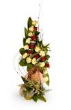 黄色和红色玫瑰色花花束  库存照片