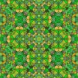黄色和绿色无缝的万花筒纹理,许多装饰品 向量例证