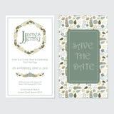 黄色和蓝色玫瑰缠绕婚礼邀请卡片 库存照片