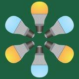 黄色和蓝色电灯泡 免版税库存图片