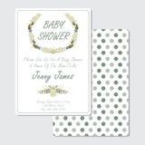 黄色和蓝色花缠绕婴儿送礼会邀请卡片 免版税库存图片